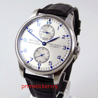 43mm PARNIS silver dial blue marks black leather strap power reserve ST2542 automatic movement mens watch P99C|Mechanical Watches| |  -