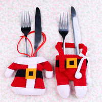 New Knife And Fork Covers For Christmas Decoration Clothing Knife And Fork Covers With Small Plastic Buckle 2020