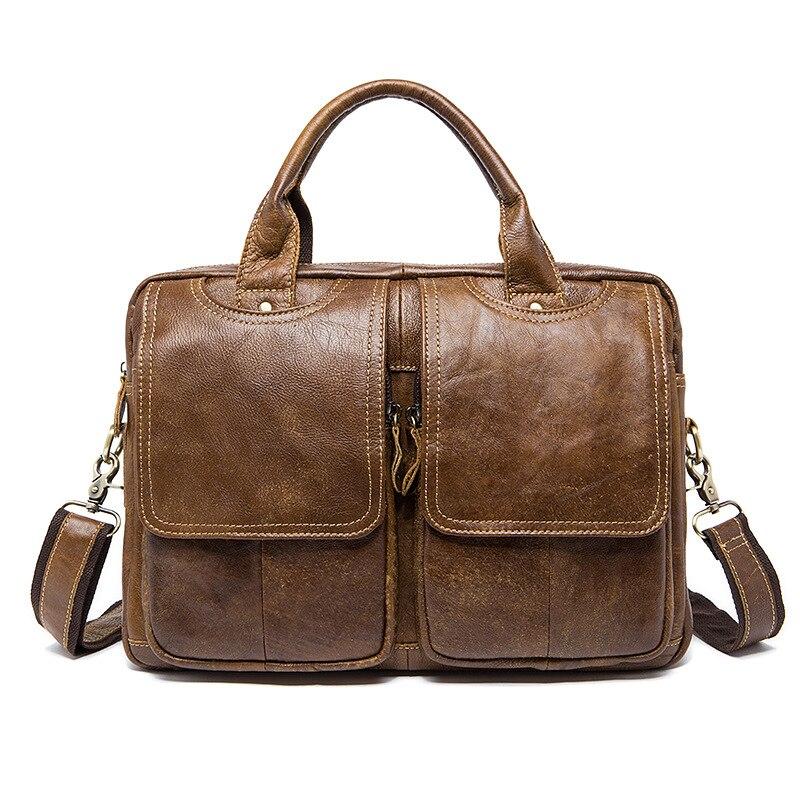 Cow Genuine Leather Men Briefcase Bag Business Handbag Male Laptop Shoulder Bag Tote Computer Natural Skin 14 Inch Briefcase