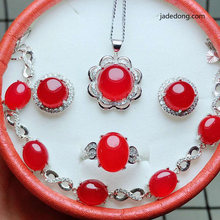 LETSFUN Fine Jewelry Sets Natural Jade Medullary Pendant Ring Bracelet Earring Women Silver 925 Jewelry Jade(China)