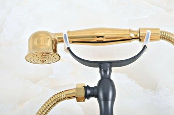 Black Gold Color Brass Wall Mount Bathtub Bathroom Faucet Telephone Style Mixer Faucet Tap With Dual Handle Handshower Zna420