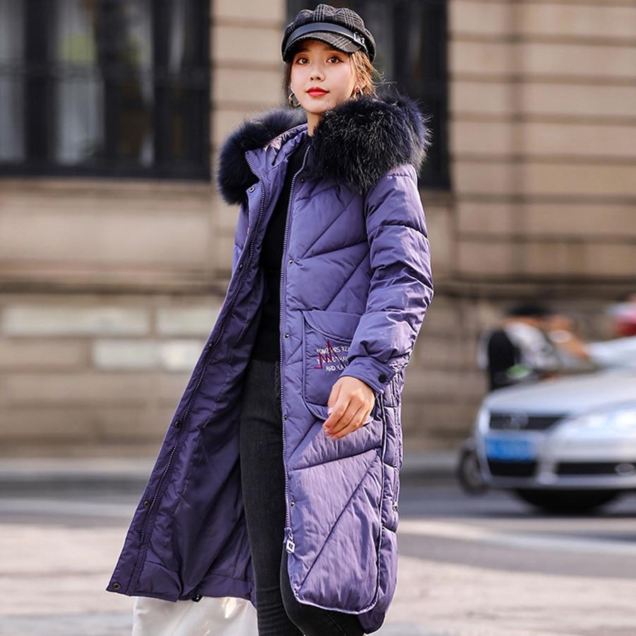 winter coat women warm thicken cotton wadded Large Real fur collar hooded parka long jacket winter women outwear plus size