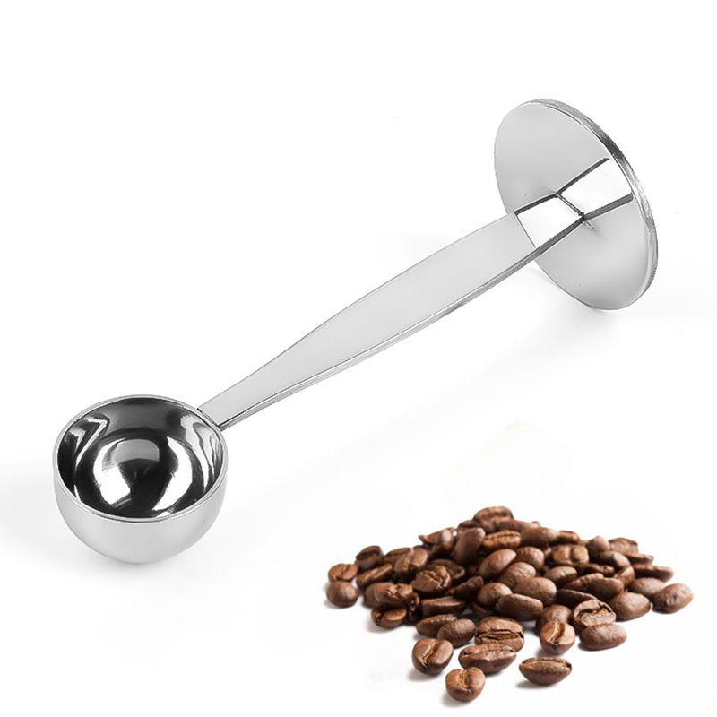 1PC 2 In 1 Coffee Tamping Mesure Spoon Dual-purpose 201 Stainless Steel Coffee Bean Powder Cafe Measuring Tamping Scoop