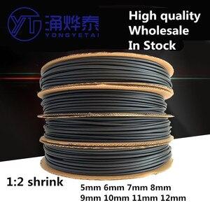 YYT 5meter/lot Heat shrink tubing diameter 5mm 6mm 7mm 8mm 9mm 10mm 11mm 12mm 2:1 Black Sleeving Wrap Wire