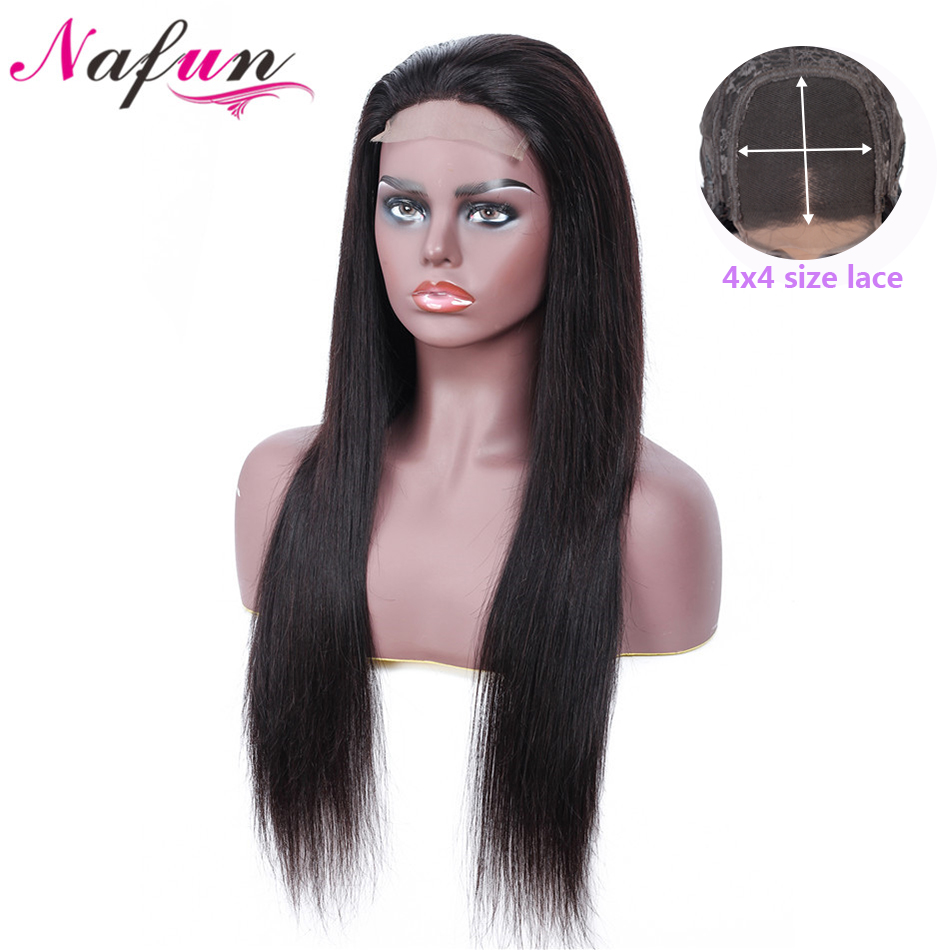 NAFUN 4X4 Lace Closure Wig Peruvian Straight Lace Wigs Non-Remy Human Hair Wigs For Black Women Natural Color 150% Density
