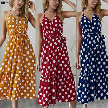 New women's dress in summer 2020. Wave dot pattern style.Halter dress. Holiday dress. Beach dress.V-neck vintage dress surplice neck mixed media dress