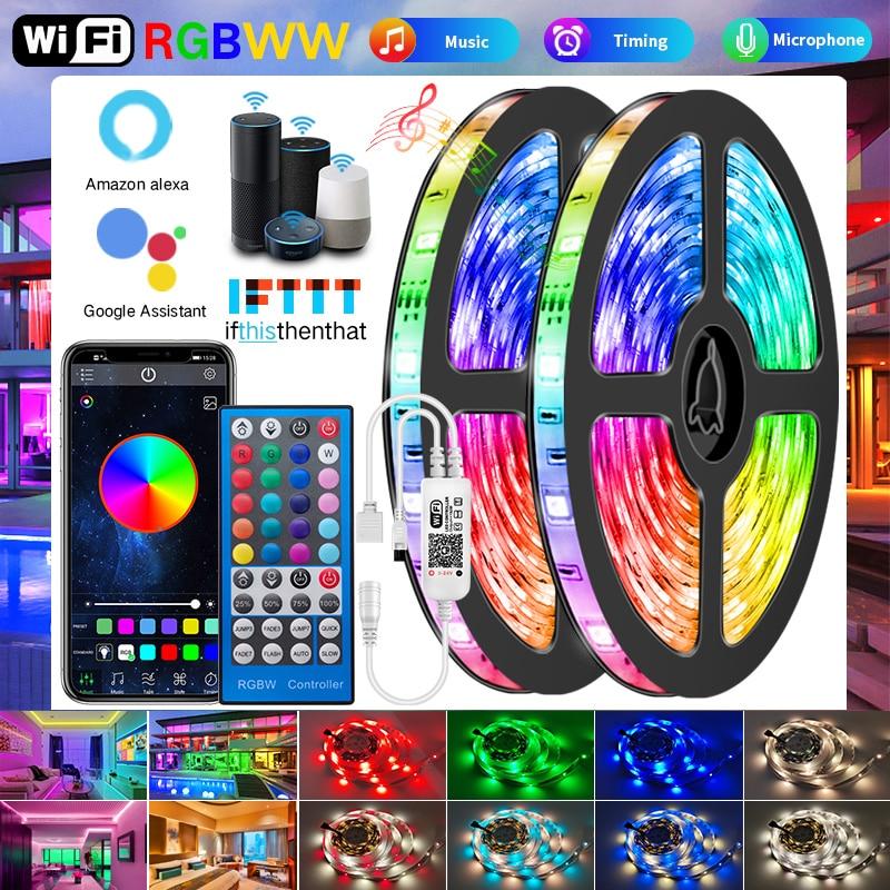 Wifi RGBWW Led Strips Lights 5050 2835 Bluetooth Led light strip RGB Warm White Flexible Lamp Tape Ribbon DC Adapter For Alexa