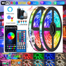 Wifi RGBWW Led Strips Lights 5050 2835 Bluetooth Led light strip RGB Warm White Flexible Lamp Tape Ribbon DC Adapter For Alexa