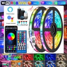 Tira de luces Led Wifi RGBWW, 5050, 2835, Bluetooth, RGB, lámpara blanca cálida, Flexible, cinta, adaptador de CC para Alexa