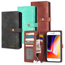 MEGSHI-016 Zipper Wallet Kickstand 2in1 Adsorption Leather Phone Case Cover for iPhone 7Plus 8Plus