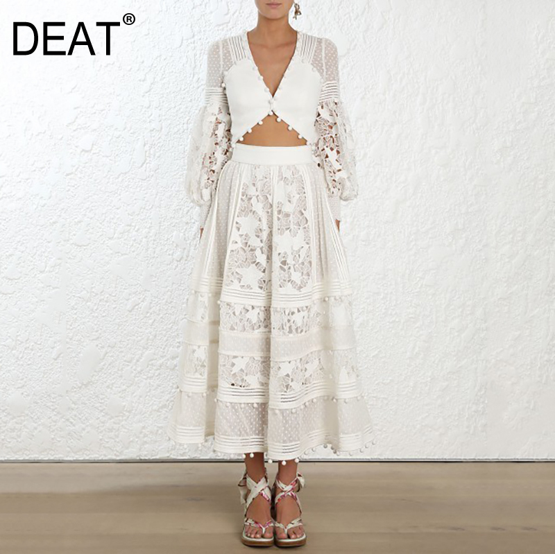 DEAT 2020 new fashion Eoruprean women clothes white lace V-neck  Embroidery Hollow Out High Waist Long Skirt Suit WB90400S
