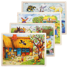 60 Pieces Wooden Puzzles for Toddler Children Learning Educational Puzzles Toys for Boys and Girls puzzles alatoys bb216 play children educational busy board toys for boys girls lace maze toywood