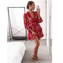 V-Neck Sexy Backless Long Sleeve Dress Womens Ruffles Floral Print Mini