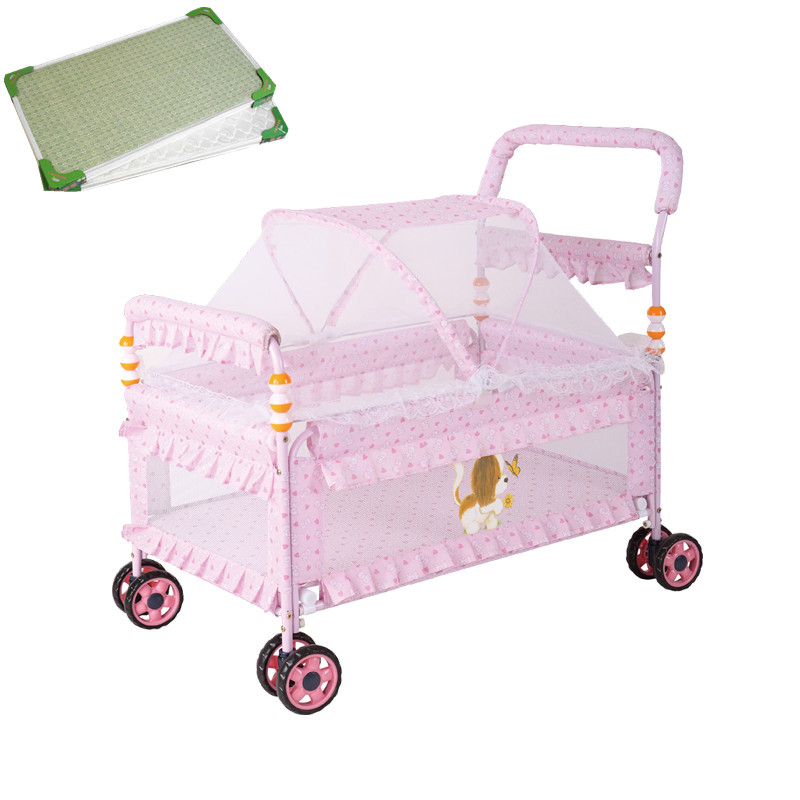 Multifunctional Baby Crib With Mattress And Mosquito Net, Can Change To Baby Stroller, Portable Baby Bed With 4 Wheels