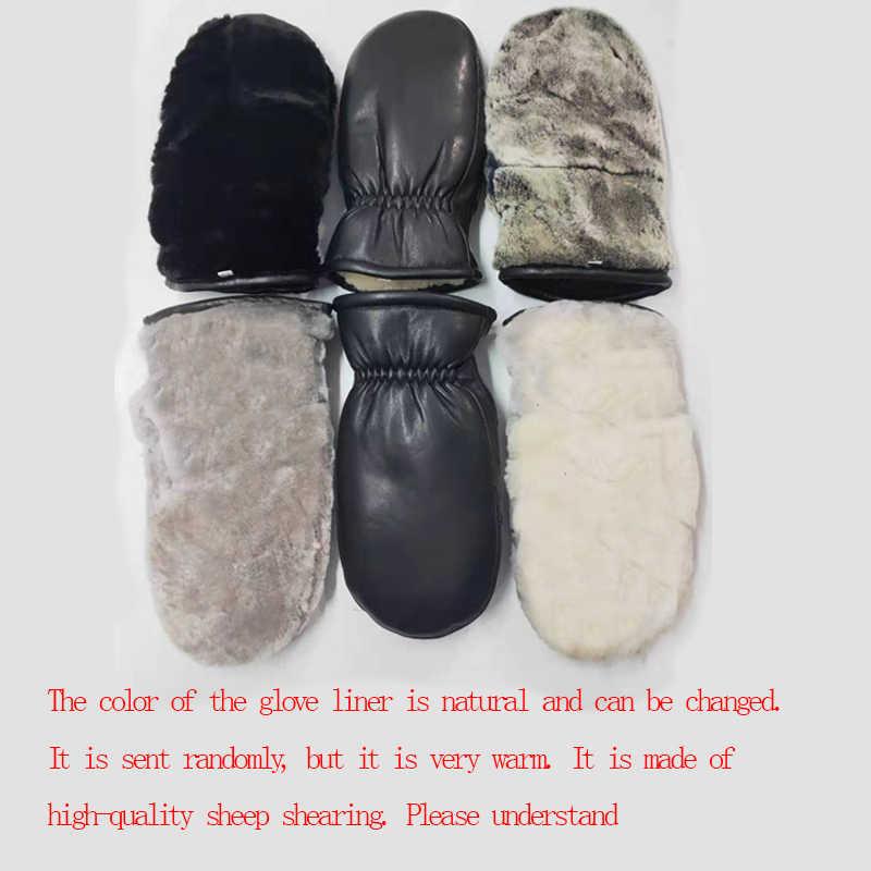 2020 Pria Kulit Domba Sarung Tangan Kulit Asli Sarung Tangan untuk Pria Luar Ruangan Musim Dingin Hangat Bulu Penebalan Termal Sarung Tangan