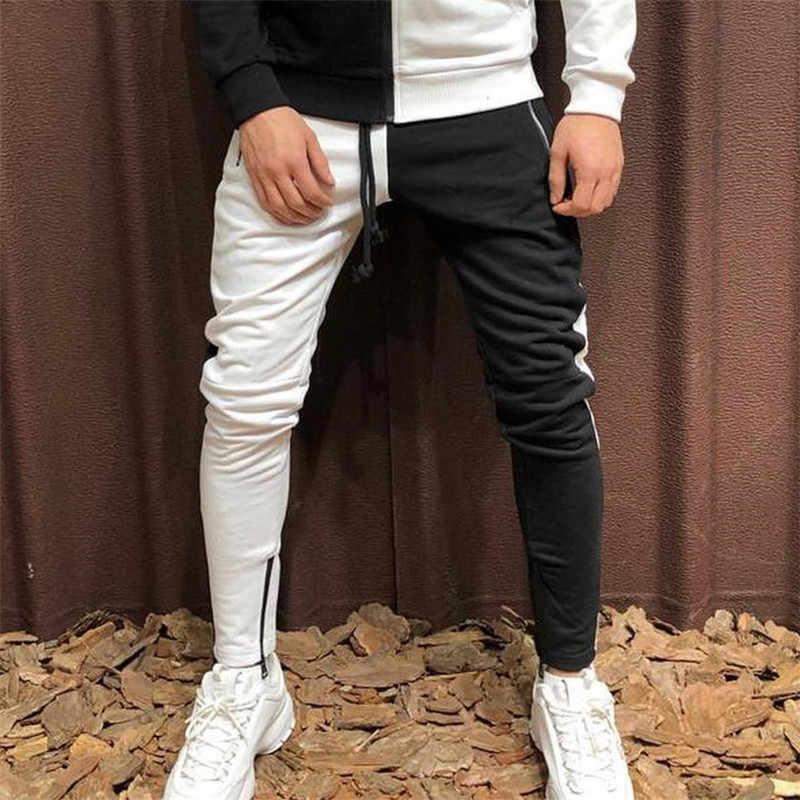 Pantalones De Dos Colores Con Costura Para Hombre Ropa De Calle Informal Con Cremallera Nuevo Diseno De Moda 2019 Pantalones Informales Aliexpress