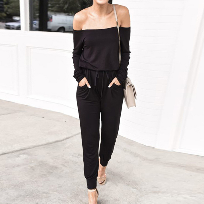 Jumpsuit Pants Off-Shoulder Spring Long-Sleeve Autumn Women Fashion Ladies Solid Casual