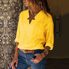 Long-sleeved Blouse Shirt Streetwear Maternity Autumn Fashion V-neck Irregular Plaid Boho Style Wear for Tops