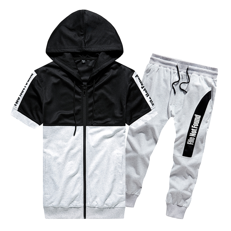 Summer Men Fashion Hoodie Pants Sets Fitness Suit Quick-drying Short-Sleeved Shorts Tracksuit O-Neck Solid Sportswear Two-piece
