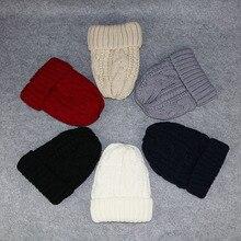 Шапка унисекс из хлопка; однотонные теплые мягкие вязаные шапки в стиле хип-хоп; мужские зимние толстые шапки; женские шапки-бини для девочек;