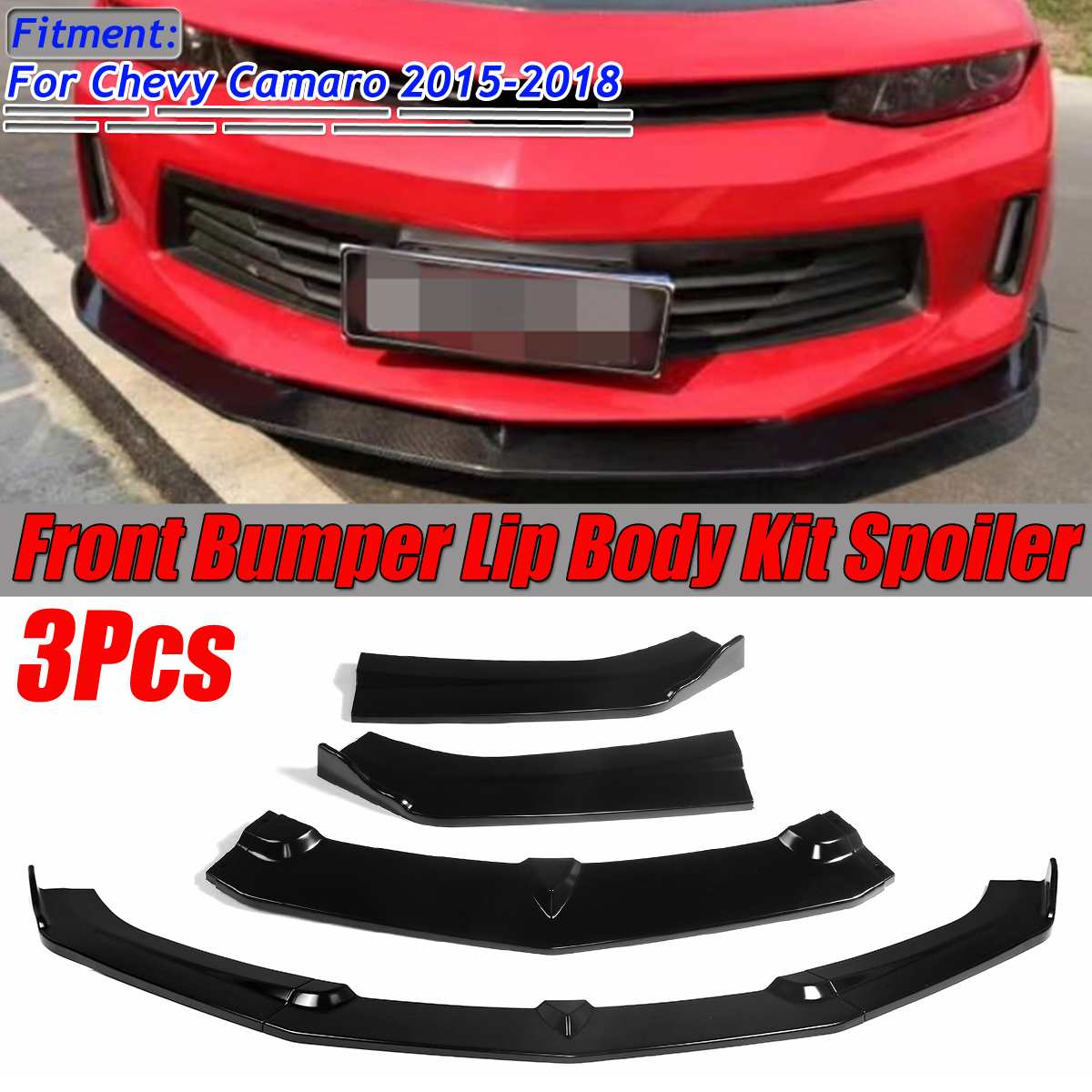 3Piece Car Front Lip Chin Bumper Splitter Lip Spoiler Splitters Body Kit Diffuser Protector Guard For Chevy For Camaro 2015-2018