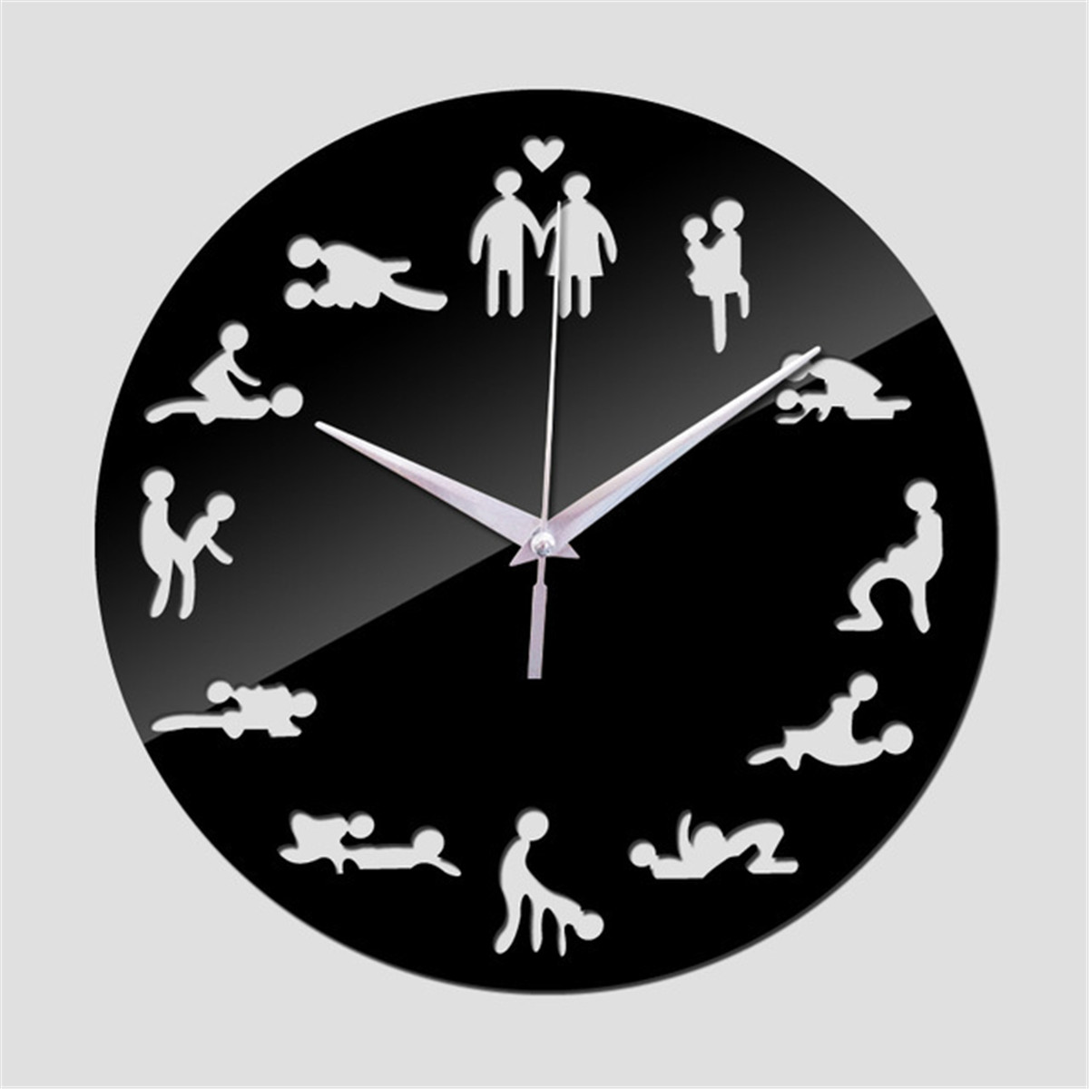 New Sexual Fun Sex Posture Wall Clock Acrylic Mirror Wall Clocks Sticker Fashion Couple Home Decor 3D Watch Wall Stickers image
