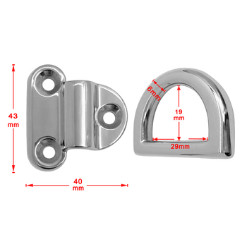 11x High Polished 316 Stainless Steel Folding Pad Eye Deck Lashing D Ring Tie Down Plate Hardware