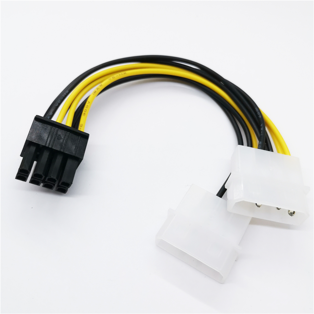 New Hot 6 inch 2 x Molex 4 pin to 8-Pin PCI Express Video Card Pci-e ATX PSU Power Converter Cable - Molex to Pcie 8 pin Adapter