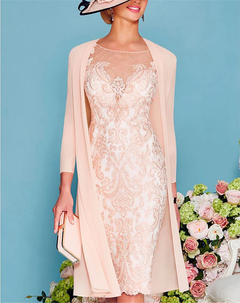 Light Pink Women's Mother Of The Groom Dresses Tea Length Lace Mother Of The Bride Dress With Jacket Formal Evening Gowns Plus