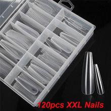 120pcs/box XXL Extra Long Clear/Natural Coffin False Nails Tips Press on Nail Art Decoration Tools DIY Salon Fake Nails Tips