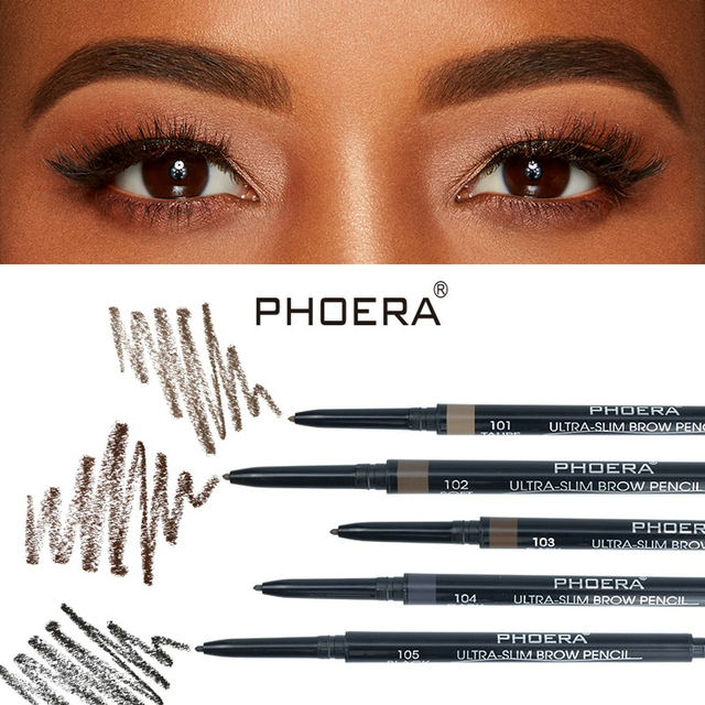 PHOERA 5 Color Double Ended Eyebrow Pencil Waterproof Long Lasting No Blooming Rotatable Eyebrow Tattoo Pen Makeup Brush 5