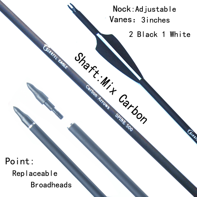 6/12/24/30pcs/lot Carbon Arrow 28/30/31 Inch Spine 500 with Replaceable Arrowhead for Compound/Recurve Bow Archery Hunting 3