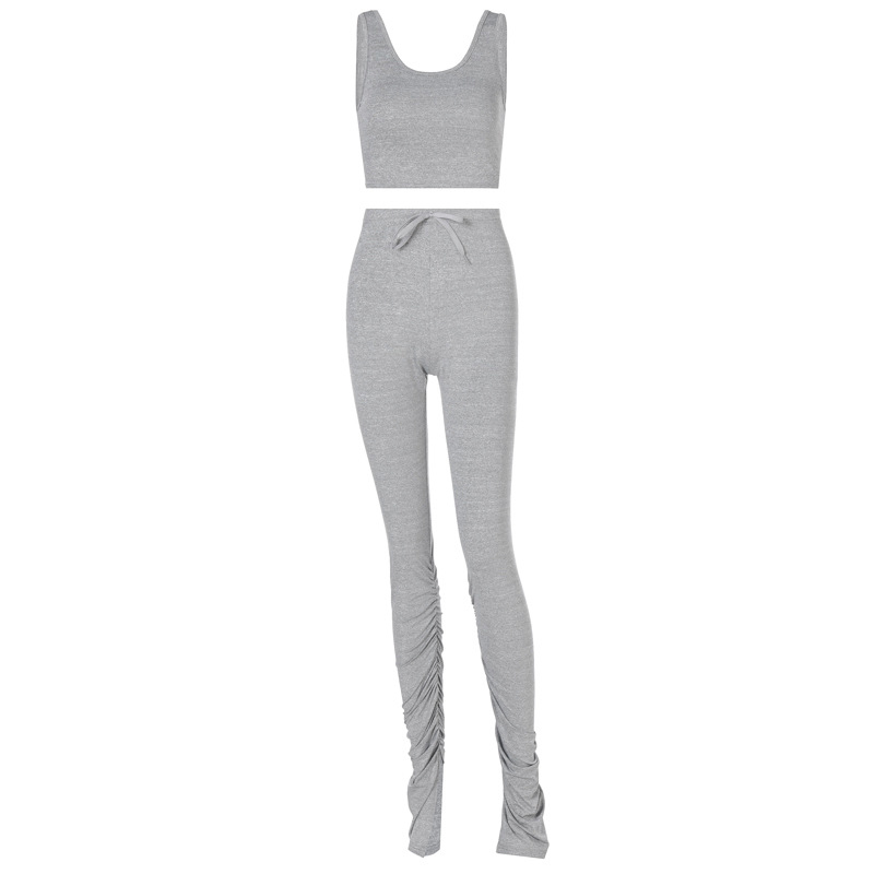 2020 Tank Top And Stacked Pants Two Piece Set Women Casual Sportswear Sleeveless Tracksuit Women Set Workout Grey Matching Sets 6
