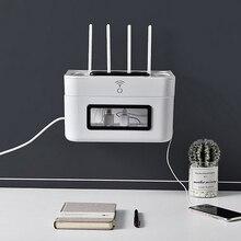 Półka mocna lampa wisząca uchwyt Wifi przechowywanie akcesoria domowe stojak uchwyt wtyczki wieszak ścienny przewód zasilający Organizer Box
