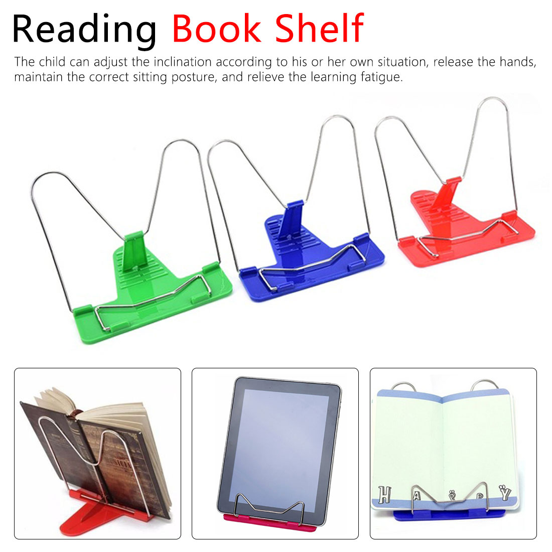 1pcs Document Holder Base Reading Book Holder Bookends Portable Foldable Adjustable Bookend Stand Reading Book Stand