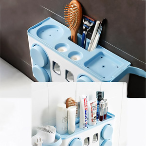 Image 3 - Juego de soporte para cepillo de dientes familiar, estante de almacenamiento de cepillos de dientes de plástico de fácil instalación, dispensador de pasta dental con 4 tazas
