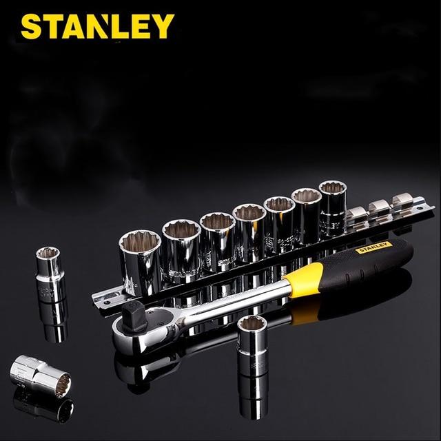 Stanley 11pcs 1/2 square drive 12 point socket set 60 teeth high torque ratchet wrench set mechanics combination tools spanner 1