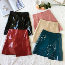 Latex Leather Sexy Mini Skirt Women Summer 2020 Night Club Black Reflective Bodycon Skirts High Waist Split Red Pink Office Slim(China)