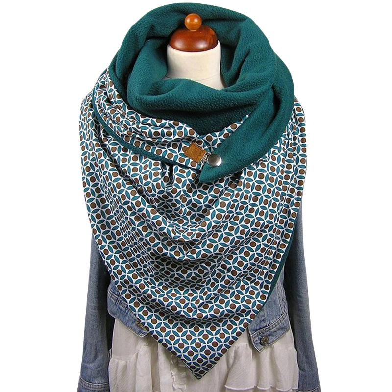 European Women Tippet Neck Headscarf Men Splicing Warmer Buttons Cowl Scarf Abstract Printing Soft Warm Shawl One Size