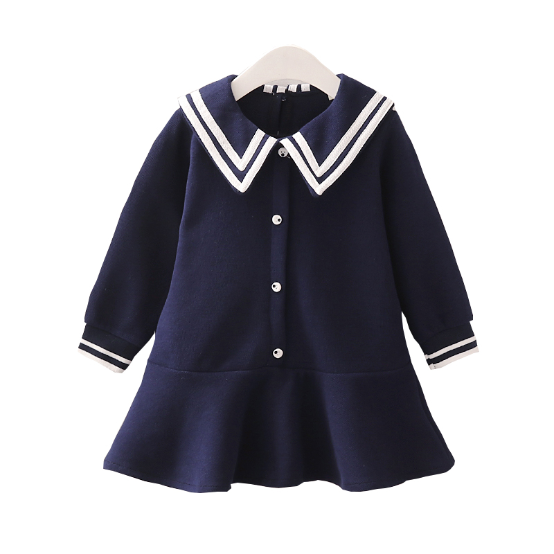 Girls Navy Dresses 2019 Spring Fall New Kids Long Sleeve Ruffles Princess Dress Children's Preppy Style One Piece Clothes P305