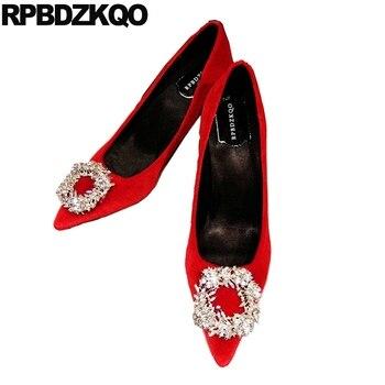2019 thin big size ladies pumps velvet pink crystal shoes jewel rhinestone 33 high heels red 4 34 diamond wedding pointed toe