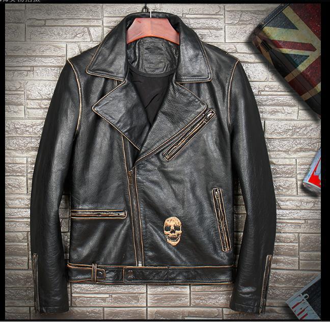 Free Shipping,Brand Man New Style Leather Jacket.vintage Cowhide Coat.slim Biker Skull Jackets.quality Fashion Clothing.classic