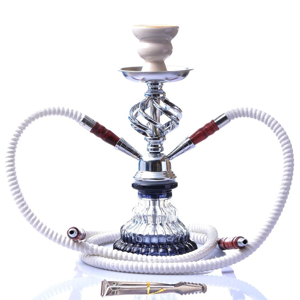 Modern Travel Cloud Hookah Double Hose Glass Shisha Pipe Nargile Chichas with Narguile Hose Bowl Charcoal Tongs Gift Wedding-0