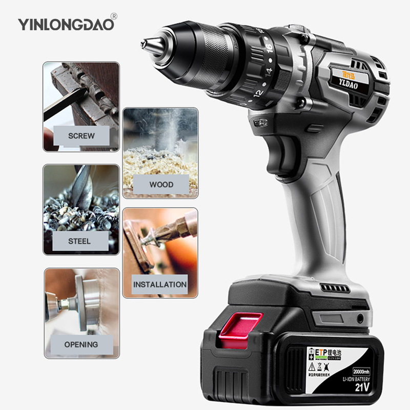 21V Cordless Drill Impact Electrical Screwdriver Impact Wireless Tool Lithium-Ion Battery Electric Hand Tools