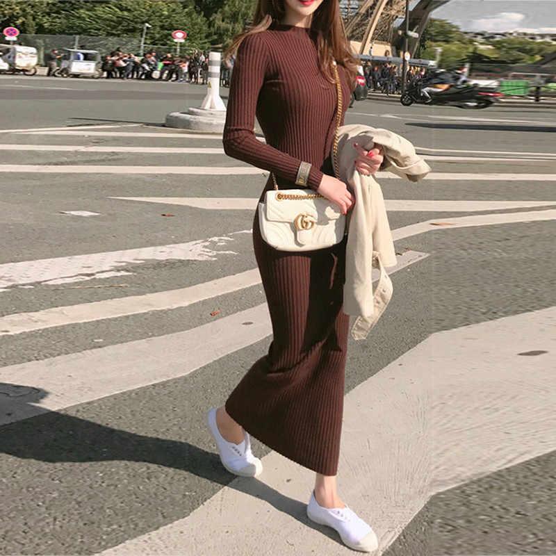 2020 새로운 X-긴 여성 스웨터 드레스 여성 슬림 니트 드레스 가을 겨울 풀 오버 캐주얼 터틀넥 스웨터 WXF624