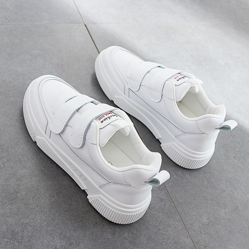 2020 Spring New White Shoes Leather Women's Casual Shoes Student Breathable Sneakers Pure Color Flat Heel 3.0cm Heel Hook Loop