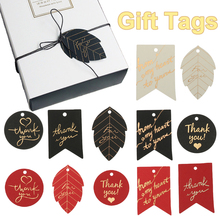 50PCS Gold Stamping Paper Gift Tags Thank You Hang Label Christmas Box Decor Black Red White Birthday Party Supplies DIY Access