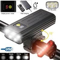USB Front Fahrrad Licht 5 LED Fahrrad Lenker Lampe Digital Display Radfahren Taschenlampe mit TYPE-C Lade Power Bank Funktion