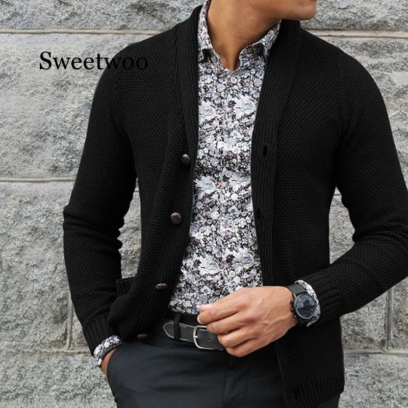 2020 New Men's Slim Fit turn down collar Cardigan Outerwear Male Solid Color Knitted Cardigans Autumn Casual sweaters Knitwear