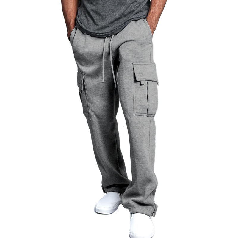 Men Cargo Pockets Sweat Pants Casual Loose Trousers Solid Color Soft For Sports FDC99